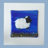 HANDMADE FUSED GLASS 'LITTLE LAMB' PICTURE