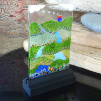 UNIQUE: Handmade Fused Glass 'LITTLE BLUE COTTAGE' Picture.