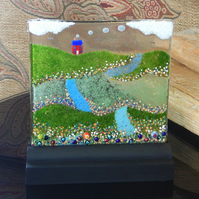 UNIQUE: Handmade Fused Glass 'LITTLE RED COTTAGE' Picture.
