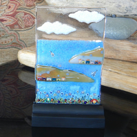 UNIQUE: Handmade Fused Glass 'HIGHLAND LOCH' Picture.