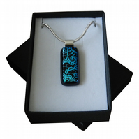 HANDMADE FUSED DICHROIC GLASS TURQUOISE BLUE 'LACE' PENDANT.