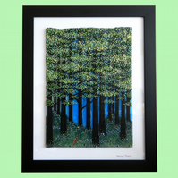 Handmade Fused Glass 'SPRING TREES' Painting