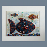 UNIQUE: Handmade Fused Glass 'GLAM FISHES' Picture.
