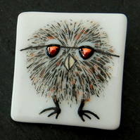 HANDMADE FUSED DICHROIC GLASS 'OLLIE THE OWL' BROOCH.