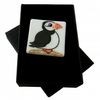 HANDMADE FUSED DICHROIC GLASS 'POLLY PUFFIN' BROOCH.