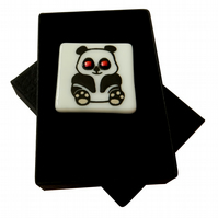 HANDMADE FUSED DICHROIC GLASS 'PIPPA PANDA' BROOCH.