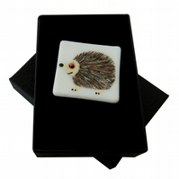 HANDMADE FUSED DICHROIC GLASS 'HARRY HEDGEHOG' BROOCH.