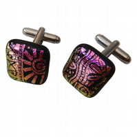 HANDMADE FUSED GLASS 'AZTEC' CUFFLINKS.