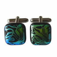 HANDMADE FUSED GLASS 'FLOW' CUFFLINKS.