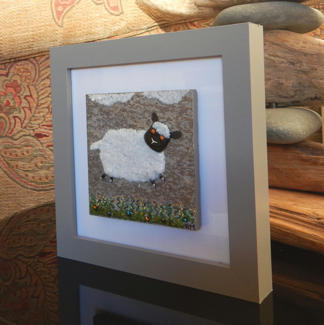HANDMADE FUSED GLASS ON CERAMIC 'LITTLE LAMB' PICTURE
