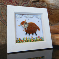 HANDMADE FUSED GLASS ON CERAMIC 'HIGHLAND COW' PICTURE