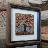 HANDMADE FUSED GLASS ON CERAMIC 'AUTUMN TREE' PICTURE