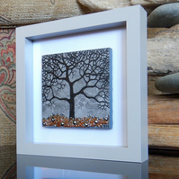 HANDMADE FUSED GLASS ON CERAMIC 'WINTER TREE' PICTURE