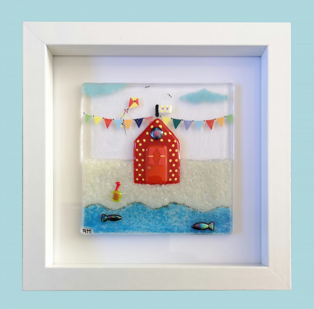 HANDMADE FUSED GLASS ON CERAMIC 'RED BEACH-HUT' PICTURE