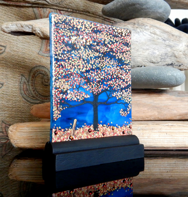 UNIQUE: Handmade Fused Glass 'BLUE AUTUMN TREE' Picture.