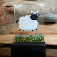 UNIQUE: Handmade Fused Glass 'LITTLE LAMB' Picture.