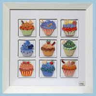 Handmade Fused Glass 'CUP CAKES' framed picture.