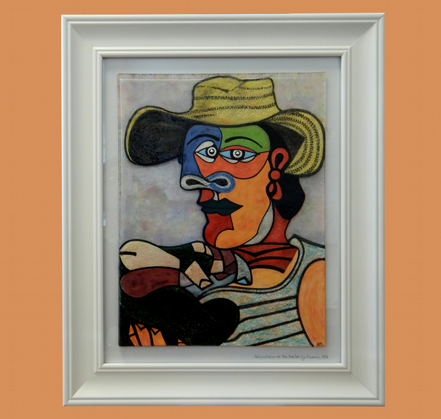Handmade Fused Glass interpretation 'THE SAILOR' Painting, by Pablo Picasso.