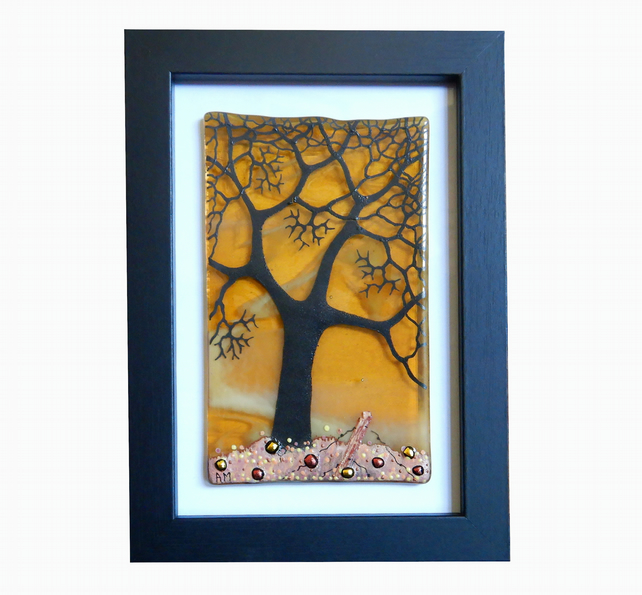 HANDMADE FUSED GLASS GOLDEN-YELLOW 'WINTER TREE' PICTURE