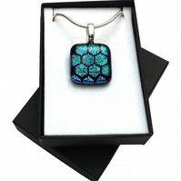 HANDMADE FUSED DICHROIC GLASS 'HONEY-COMB' PENDANT.