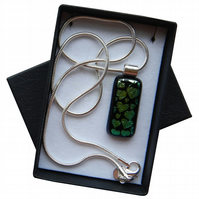 HANDMADE FUSED DICHROIC GLASS 'GREEN HEARTS' PENDANT.