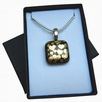 HANDMADE FUSED DICHROIC GLASS 'GOLDEN HEARTS' PENDANT.