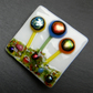 HANDMADE FUSED DICHROIC GLASS 'LITTLE FLOWERS' BROOCH.