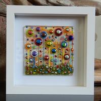 HANDMADE FUSED GLASS 'IN THE GARDEN' PICTURE.