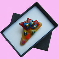 HANDMADE FUSED DICHROIC GLASS 'BEAUTY IS IN THE EYE OF THE BEHOLDER' BROOCH.
