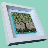 HANDMADE FUSED GLASS ON CERAMIC 'SPRING TREE'' PICTURE