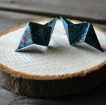 Contemporary Origami patinated  copper earrings