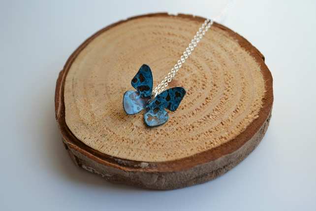 Curved Copper butterfly necklace