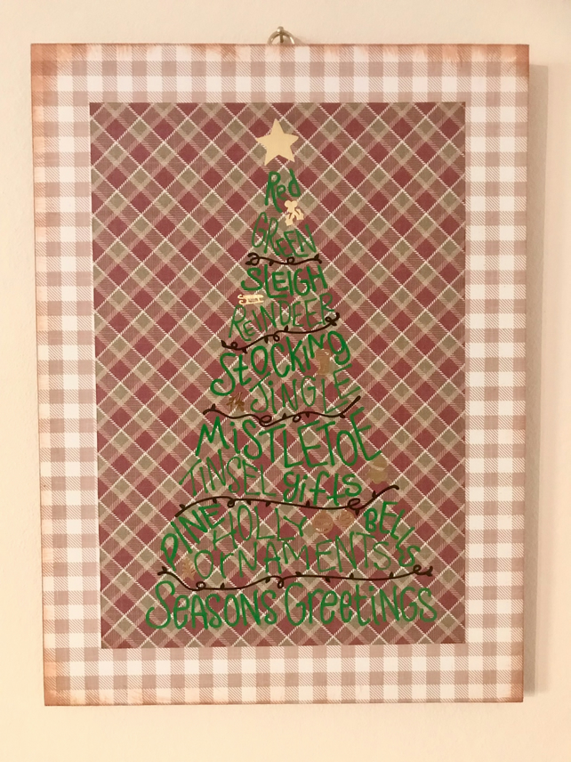 Christmas wooden hanging plaque