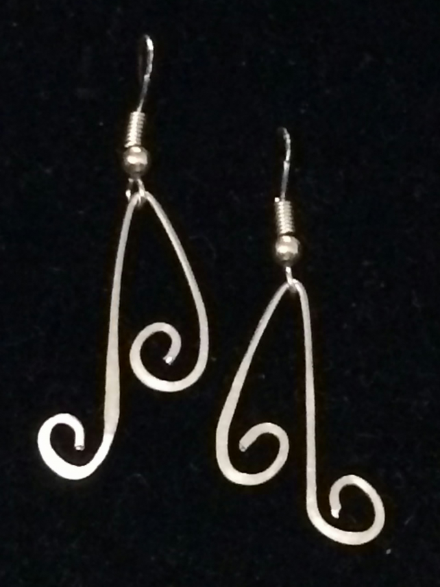 Je568 Hammered Aluminium Earrings - swirls, unique, 925 silver posts  hooks