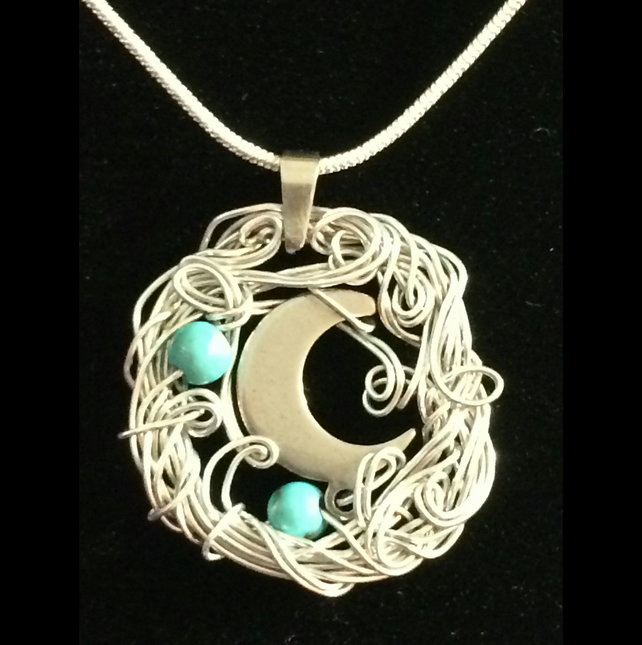 Jn832 Moon wirework Necklace, silver chain,  haematite, present, turquoise blue