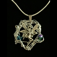 Jn831 Fairy Necklace, wirework, fairies pendant, silver snake chain