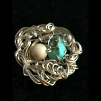 jp368 Wirework  Brooch pin,  turquoise semi precious stone, unique unusual gift