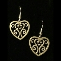 je579 Heart Earrings, tibetan silver charm, valentines day gift, boxed