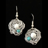 je595 Wire work  Earrings, silver posts, blue & white turquoise beads, sea beach
