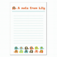 n001 Elephant Writing Paper, personalised, pk 14 with envelopes