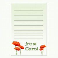 n004 Poppy Writing Paper, personalised, pk 14 with envelopes