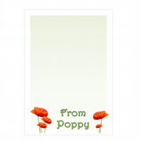n004 Poppy Writing Paper, personalised, pk 14 with envelopes A5