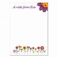n003 Flowers Writing Paper, personalised, pk 14 with envelopes