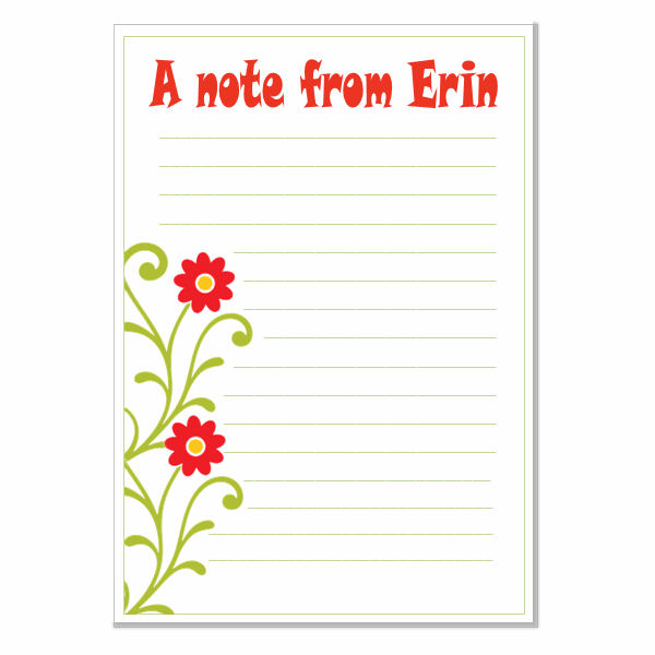 n005 Flowers Writing Paper, personalised, pk 14 with envelopes A5