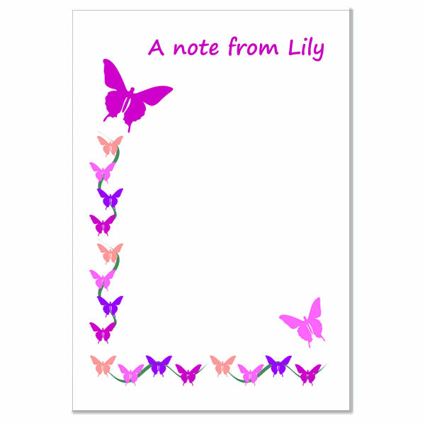 n010 Butterfly border Writing Paper, personalised, pk 14 with envelopes A5