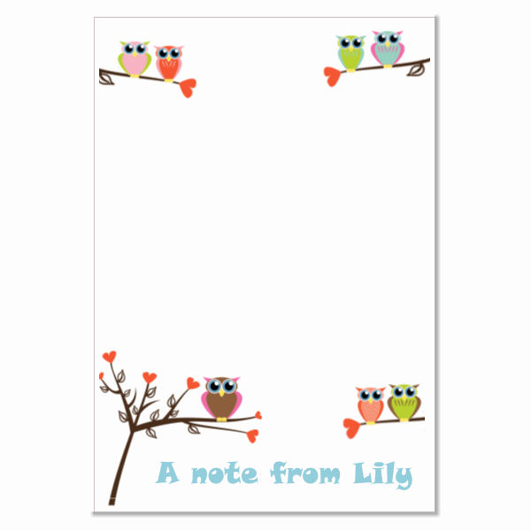 n006 Owl Writing Paper, personalised, pk 14 with envelopes