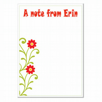 n005 Flower Writing Paper, personalised, pk 14 with envelopes