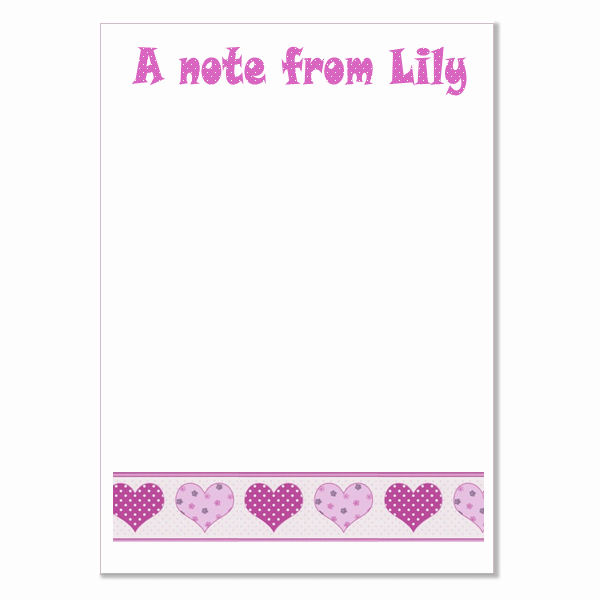n007 Hearts Writing Paper, personalised, pk 14 with envelopes A5