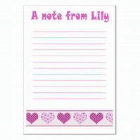 n007 Hearts Writing Paper, personalised, pk 14 with envelopes