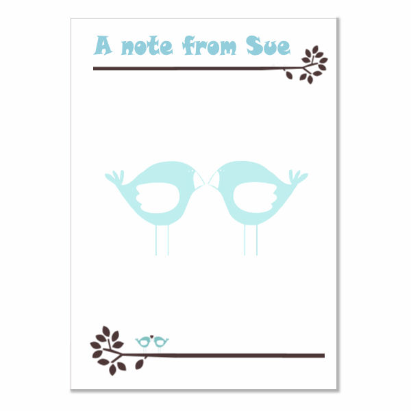 n011 Blue Love Birds Writing Paper, personalised, pk 14 with envelopes A5